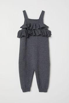 aa324c901 Fine-knit cotton romper suit - Dark grey - Kids | H&M IN Girls Clothes