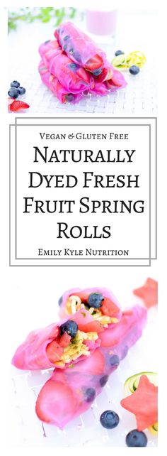 A unique twist on the classic spring roll, these Pink Fresh Fruit Spring Rolls are a sweet treat that are naturally dyed, vegan and gluten free.