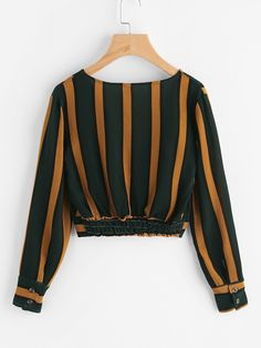 Shop V Neckline Striped Surplice Crop Top online. SheIn offers V Neckline Striped Surplice Crop Top & more to fit your fashionable needs. Teen Fashion Outfits, Look Fashion, Stylish Outfits, Trendy Fashion, Cool Outfits, Fashion Dresses, Crop Top Outfits, Mode Style, Ladies Dress Design