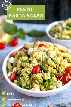 This Pesto Pasta Salad is bursting with flavor! Loaded with asparagus, peas, tomatoes, mozzarella and Parmesan, this pasta salad recipe is perfect for any occasion, especially summer gatherings, picnics and potlucks. Make your own homemade pesto or use store-bought pesto for a quick and effortless meal! #recipe #basil #lemonblossoms #asparagus #vegetarian #cold #Italian Vegetarian Pasta Recipes, Vegetarian Lunch, Pasta Salad Recipes, Healthy Salad Recipes, Vegan Recipes Easy, Easy Dinner Recipes, Summer Recipes, Vegetarian Italian, Food Salad