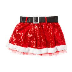 Red Sequin Santa's Helper Skirt