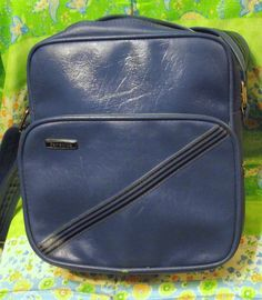 Samsonite Concord Retro Vintage Blue Cobalt Stripe Shoulder Luggage  Carry-On Bag  Samsonite Carry dbca4023aad8a
