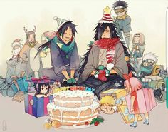 Happy Birthday Madara, text, cake, Obito, Kakashi, Rin, Team Minato, Team 7, Naruto, Sasuke, Sakura, Hashirama, Sakumo, funny, cute, young, childhood; Naruto