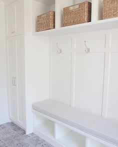 Mudroom , patterned tiles, restoration hardware hooks, pottery barn baskets, Benjamin Moore @ JSHOMEDESIGN