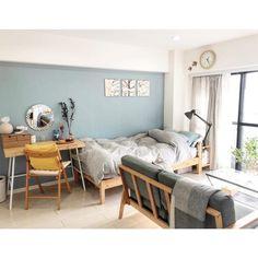 【おしゃれ女子の一人暮らし】アイディア満載!1Rの間取りを生かした空間づくり | folk House Rooms, Grey Room, Bedroom Inspirations, Furniture, Room Layout, Home Decor, Apartment Floor Plan, Room Design, Room Interior