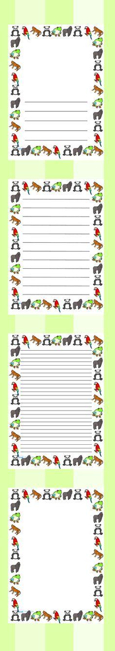 Jungle writing paper