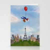 Stationery Card featuring Guinea Pig Over Paris by When Guinea Pigs Fly