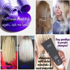 Did you know that our Black Shampoo & Conditioner tones blond, white and gray? N… Did you know that our Black Shampoo & Conditioner tones blond, white and gray? No more toxic purple shampoos! Young Living, Lila Shampoo, Monet Hair Products, Suave Shampoo, Brassy Hair, Blonde Hair Care, Toning Shampoo, Male Pattern Baldness, Make Up