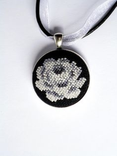 White rose cross stitch pendant, Elegant white rose jewelry, Black and white necklace, White flower locket, Cross stitch flower jewelry Cross Stitch Rose, Cross Stitch Flowers, White Roses, White Flowers, Rose Jewelry, Unique Jewelry, Black And White Necklaces, Christmas Gifts For Women, Embroidery Stitches