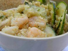 Insalata di quinoa, gamberetti e zucchine, con limone e menta - quinoa salad