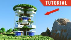 A tutorial on how to build a modern tree house in Minecraft. This tree house is perfect for survival mode. Minecraft Mods, Casa Medieval Minecraft, Modern Minecraft Houses, Minecraft Houses Survival, Minecraft Houses Blueprints, Minecraft Architecture, Minecraft Designs, Minecraft Buildings, Minecraft How To Build