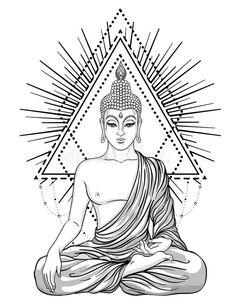 Buddha Drawing, Buddha Painting, Buddha Art, Buddha Buddhism, Buddha Tattoo Design, Buddha Tattoos, Mandala Tattoo, Mandala Art, Nordic Tattoo