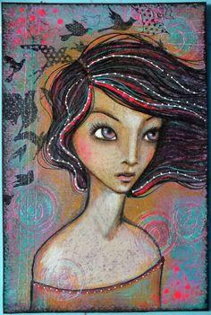 "Original OOAK 4 x 6 Mixed Media acrylic colored pencil ""Fly Away"" A Kennedy portrait woman birds purple neon"