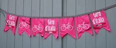 This is a made to order handmade two metre length of bunting to celebrate and support Giro dItalia in May. There are seven flags on a two metre