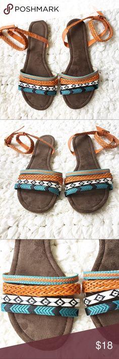 e178c136a2f9 Muk Luks Tribal ankle strap sandals Tribal print