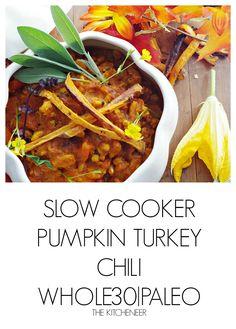 Slow Cooker Pumpkin Turkey Chili | http://www.thekitcheneer.com/recipe/slow-cooker-pumpkin-turkey-chili/