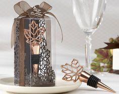 """""""Lustrous Leaf"""" Copper-Finish Bottle Stopper in Laser-Cut Leaf Gift Box $3.99 #FallWeddings"""