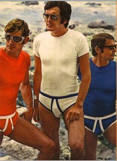 In the 1970s it was considered cool and not in the least bit homoerotic for groups of men to go to the beach together wearing only their thickly piped undergarments.