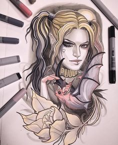 Isnard with a another Harley Quinn piece up for grabs! Get in here and book this piece! #tattoo #art #Dublin #Ireland