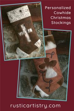 Our leather and cowhide Christmas stockings can be personalized. Names are stamped into leather, which can be attached in 2 ways: with rivets at the top of the stocking front, or attached to the hang tab at the top of the stocking. Lodge Decor, Best Blogs, Cabin Fever, Name Tags, Rustic Chic, Rustic Christmas, Christmas Stockings, Charmed, Names