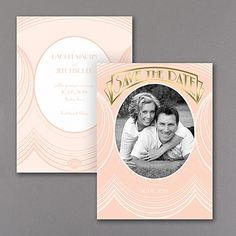 Art Deco Glimmer - Photo Save the Date Card #pinkgatsby
