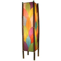Eangee Fortune Multicolor Cocoa Leaves Tower Floor Lamp
