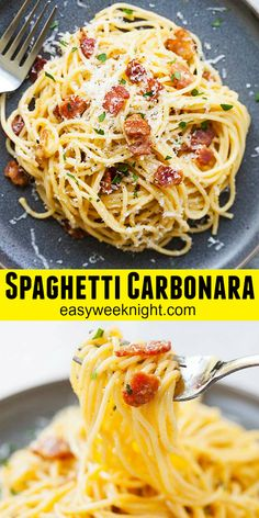 Easy Spaghetti Carbonara recipe learn the authentic way Italian home cooks and restaurant chefs make Spaghetti alla Carbonara. Every strand of the pasta is coated in cheese and eggs. So delicious! Recipes With Spaghetti Noodles, Easy Spaghetti Carbonara, Healthy Pasta Recipes, Cooking Recipes, Pasta Carbonara, Leftover Spaghetti Noodles, Vegetarian Spaghetti, Baked Spaghetti, Carbonara Recipe Authentic