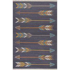 Jaipur Flatweave Tribal Pattern Dark Gray/Yellow Wool and Area Rug