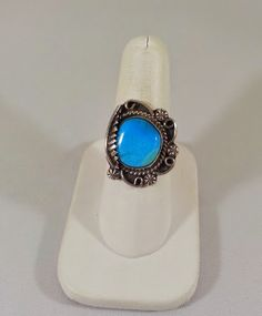 Native American Ring, Silver Turquoise Ring, Genuine Blue Turquoise, 1970s by TracyBDesignsAZ on Etsy
