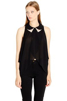 The Sugarlips Signet Of Sophia Top is a black chiffon top with multiple layers that wrap in the front of the shirt that create a tulip hem. Features a tan and black peter pan collar. Looks great paired with neutral printed bottoms and silver toned accessories. #MyLuluCloset #Sugarlips #Storenvy #Sales #Tops