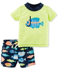 72bab4a445 Carter's 2-Pc. Fish Rash Guard & Swim Trunks Set, Baby Boys & Reviews -  Swimwear - Kids - Macy's