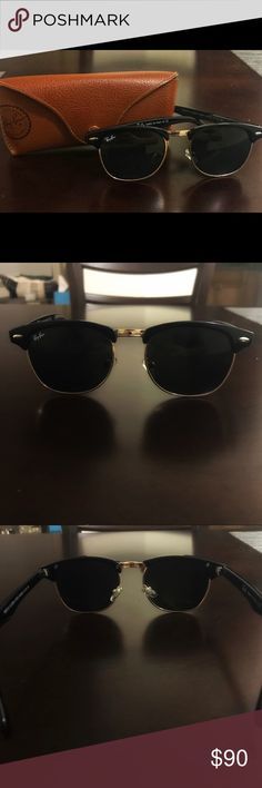 Ray Ban Clubmasters Authentic ray ban club master style sunglasses in black.  Polarized lenses.  In great condition, no scratches.  Model number is W0366. Case included in purchase (some wear on case see photos but useable). Ray-Ban Accessories Sunglasses