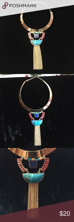 Egyptian inspired STATEMENT NECKLACE FIRM PRICE Beautiful Egyptian inspired statement necklace.  This beauty is sure to be a conversation piece.  Great piece for summer.  Will look great with your favorite maxi dress and a tan or jeans and a nice top.  This necklace is brand new w/o tags. ❤️️ Jewelry Necklaces