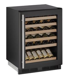 "U-Line 1000 Series 24"" Wine Captain® Model (1224WC) holds up to 48 wine bottles (750 ml). Temperature range: 38°F - 65°F. Wine racks accommodate a variety of bottle shapes and sizes, while the fourth and fifth racks allow for larger diameter wine and champagne bottles. Available in the following finishes: Stainless, Integrated, or Black"