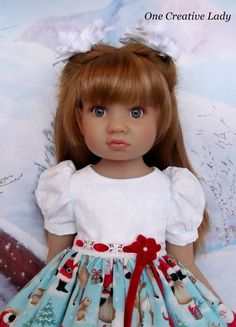 """Doesn't Olivia look adorable in her new dress from OCL's Studio?. Olivia is an 18"""" slim bodied Kidz n Cats doll. The fabric used for the bodice, sleeves and sleeve bands is a white on white snowflake print with a light dusting of iridescent glitter. 