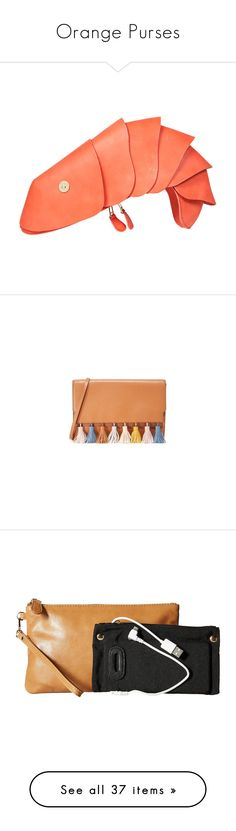 """""""Orange Purses"""" by eternalfeatherfilm on Polyvore featuring bags, handbags, clutches, purses, coral, the label monster, zipper purse, hand bags, magnetic purse and coral clutches"""