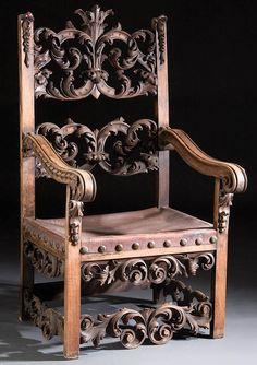 Italian Rococo Revival Throne Chair.