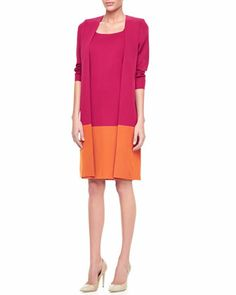 Long Colorblock Jacket & Colorblock Sleeveless Dress by Misook at Neiman Marcus.