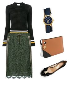 """Sporty Lace Skirt"" by chingjade ❤ liked on Polyvore featuring 3.1 Phillip Lim, LUISA CERANO, Tory Burch and Salvatore Ferragamo"