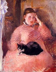 """""""Woman With a Cat"""" by Édouard Manet. Manet drew this pastel piece late in his career, around He was a key figure in the birth of the artistic movement known as impressionism. Pierre Auguste Renoir, Edouard Manet, Monet, She And Her Cat, Bastet, Art Gallery, Classic Artwork, Degas, Famous Artists"""
