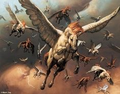 You may think that the tulpar is identical to the pegasus, but the tulpar is in fact a winged variant of the unicorn rather than the horse.