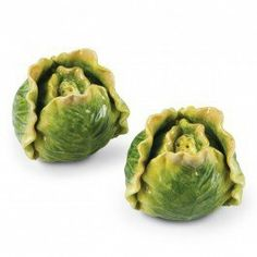 Cabbage Salt & Pepper Shakers by COSMOS. $14.95. Add a spring garden inspired accent to your kitchen or dining room table, with our Cabbage Salt and Pepper Shakers. Featuring hand painted details of shades of green and yellow, the heads of cabbage appear very realistic. The shakers include plastic stoppers to keep contents intact, and one has only two holes to pour from (as opposed to three), to differentiate between salt and pepper. A glossy sheen is applied fo...