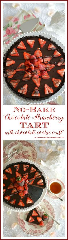 I have an easy no-bake dessert for you for Valentine's Day: A Chocolate Strawberry Ganache Tart with a Chocolate Cookie Crust! If you're not familiar with ganache, it's a rich, de…