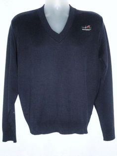 Southwest Airlines Navy Blue Sweater V-Neck Lng Slv Embroidered Plane Logo L XL #Cintas