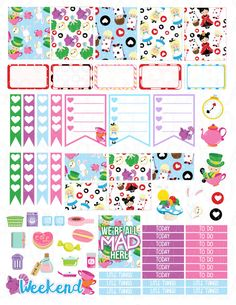 Printable Planner Stickers Alice In Wonderland by LaceAndLogos