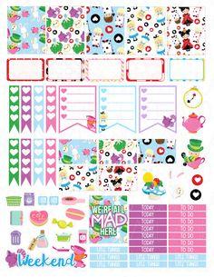 Printable Planner Stickers Alice In Wonderland Looking Glass Glam Planning…