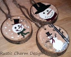 Frosty Snowman Ornaments by RusticCharmDesign on Etsy