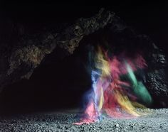 Rainbow art made with colored paper and long exposure. Bronson Caves by Brice Bischoff
