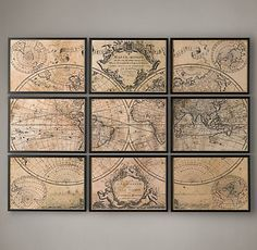 Maps | Restoration Hardware love your edges then place as many as needed to be covered by map - modge podge and yippy
