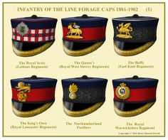 Infantry Officer's Forage Caps, Th Berks did not become a Royal regiment until 1885 and the forage cap shown only started to be worn in 1889 British Army Uniform, British Uniforms, Military Cap, Military Uniforms, Military Insignia, Army Pay, English Army, Warrant Officer, British Armed Forces
